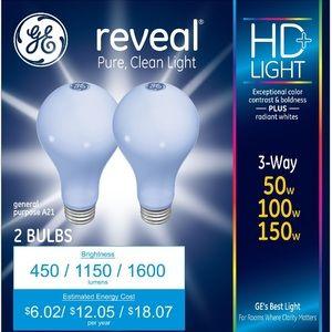 GE Reveal 50/100/150-Watt 3-Way Light Bulb